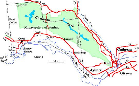 Zec Pontiac - Map - Quebecgetaways.com - For great vacation ideas.
